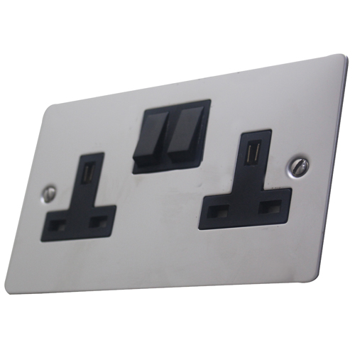 Volex 13A Double Socket Stainless Steel