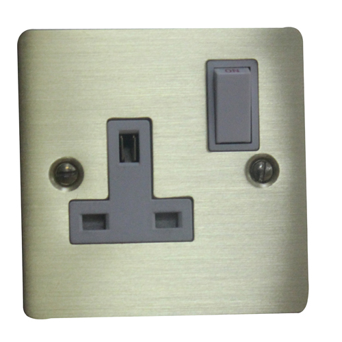 Volex 13A Single Socket Brushed Brass
